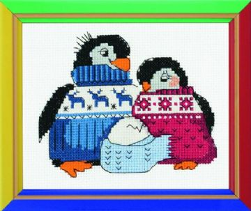 Riolis Cross Stitch Kit. Friendly Family of Penguins. Suitable for kids.